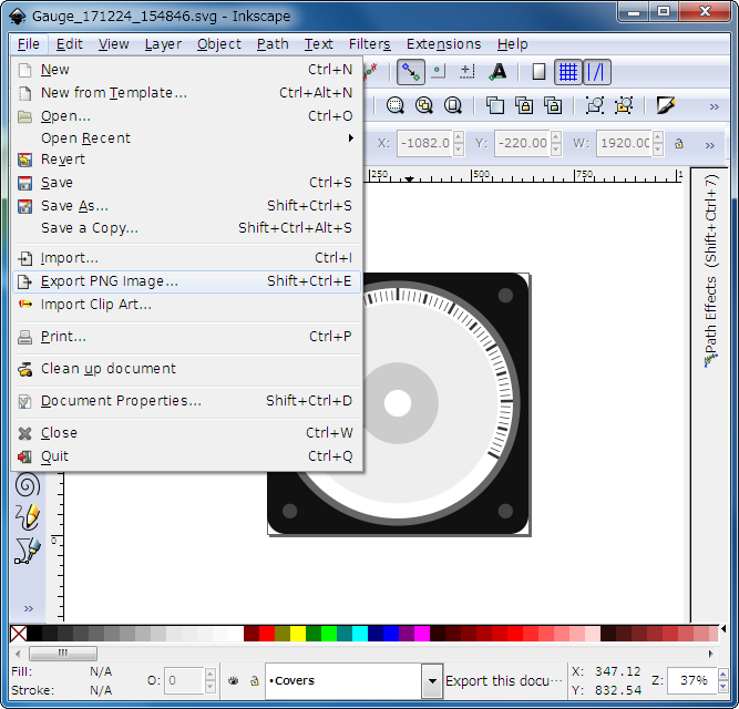 Select Export PNG in Inkscape